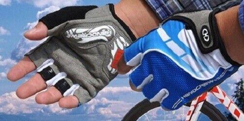 Cycling Bike Bicycle Gel Padded Half Finger Fingerless Gloves Men Red