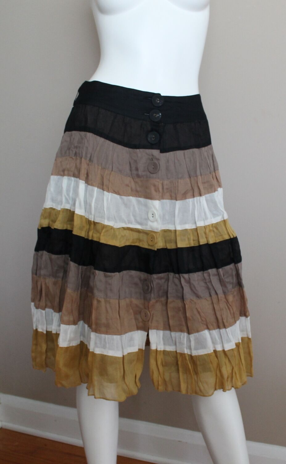 Zara Multi color Flared Cotton Ruffle Tiered Spring Summer Skirt Sz M