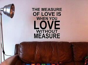 The-Measure-Of-Love-Pegatina-Pared-Arte-Cocina-Salon-Dormitorio