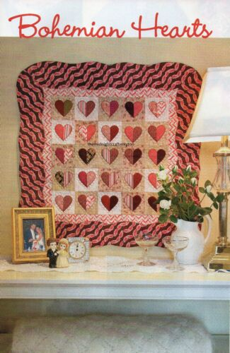 Bohemian Hearts Quilt Pattern Pieced//Applique JH