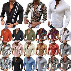 Herren-Leinenhemd-Langarm-Freizeithemd-Slim-Fit-Shirt-Bluse-Tops-Hemden-Oberteil