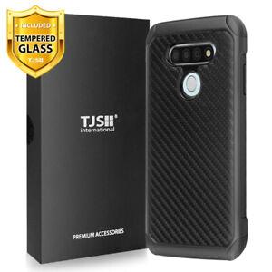 For LG K51/Q51/Reflect, Phone Case Cover TJS Impact Carbon Fiber+Tempered Glass