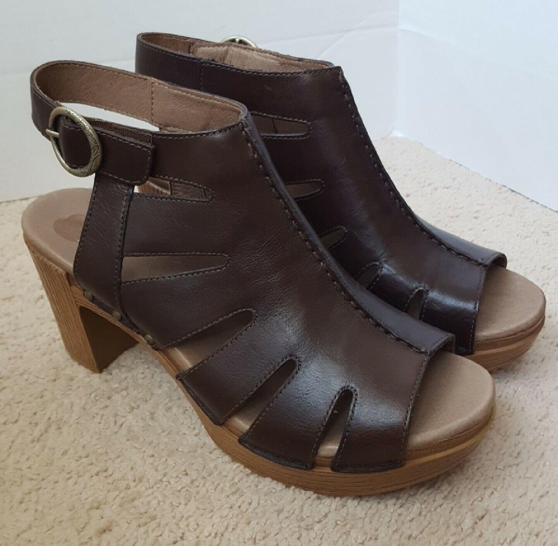 Dansko Demetra Brown Leather Heel Sandals Shootie Women EU 40 US 9  149