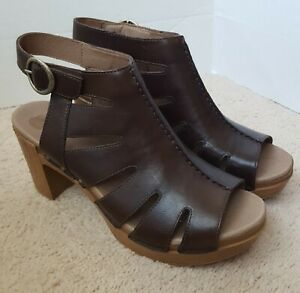 Dansko-Demetra-Brown-Leather-Heel-Sandals-Shootie-Women-EU-40-US-9-149