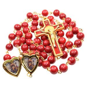 Catholic-Red-amp-Gold-Plated-Rosary-Beads-Decorated-Crucifixion-amp-Icon-Locket-23-034