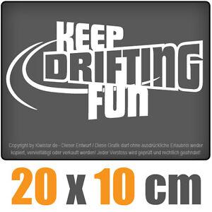 Keep-drifting-Fun-20-x-10-cm-JDM-decal-sticker-coche-car-blanco-discos-pegatinas