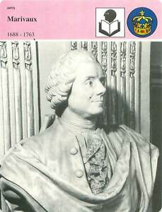 FICHE-CARD-Marivaux-1688-1763-Buste-de-Fany-Dubas-Davesnes-Comedie-Francaise-90s