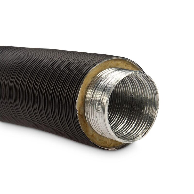 Isoliertes Aluflexrohr Aluflexleitung 800 mm, DN 100 mm, Schwarz