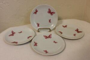 RARE-Jean-Luce-Arzberg-Bread-amp-Butter-Plates-4-Pink-Butterflies-Mint-MCM-6-034