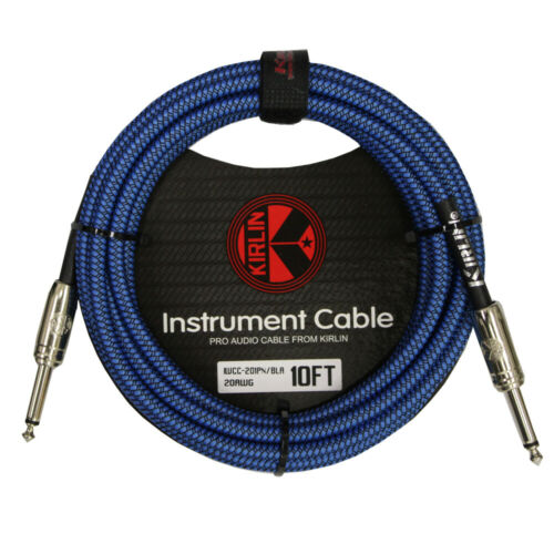 """NEW Kirlin 10FT 1//4/"""" Straight Ends Woven Blue Guitar//Bass Cables with Cable Tie"""