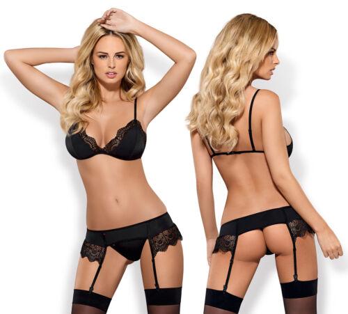 OBSESSIVE Moketta Luxury Soft Cup Bra Suspender Belt and Matching Thong Set