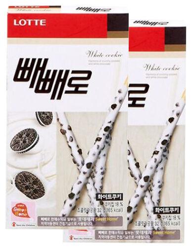 Korean Lotte Pepero Pocky Stick Snack 2 boxes Oreo White Cookie Flavor
