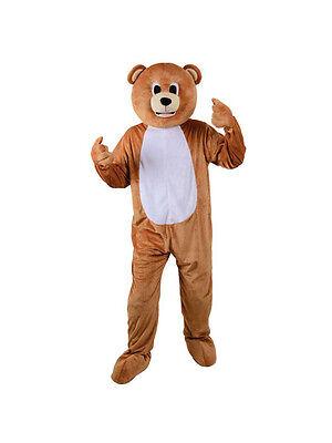 Adult Big Head Teddy Bear Fancy Dress Mascot Costume Grizzly Animal Unisex BN