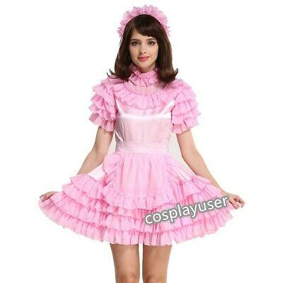 Sissy ~ maid ~ adult baby ~ neuter ~CD// TV pink satin and organza frilly dress
