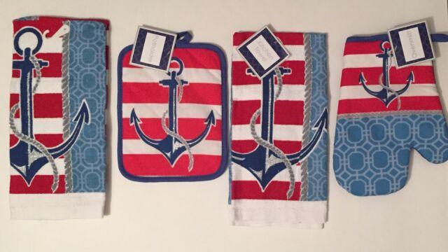 Nautical Anchor 4 pc kitchen towels potholder oven mitt set