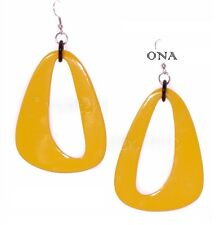 ONA Handmade LAGENLOOK Water Buffalo HORN & LACQUER EARRINGS Q6193 Large YELLOW