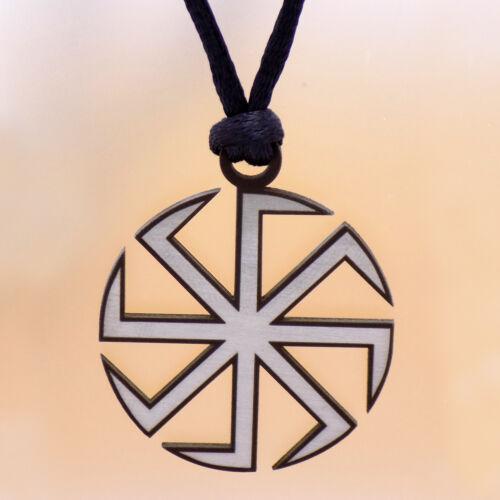 Kolovrat Slavic Symbol Sun Wheel Stainless Steel Pendant /& Black Cord Necklace
