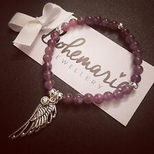 Amethyst angel wing bracelet gemstone protection bijoux jewellery boho