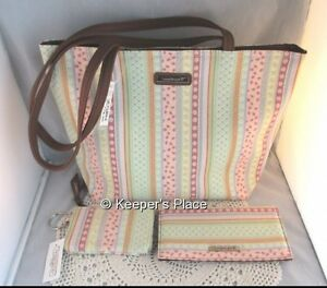 Longaberger-Spring-Parade-Faux-Leather-Trim-Tote-Checkbook-Cover-Coin-Purse-New