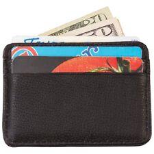 Mens Genuine Leather Slim Wallet w/ Money Clip, Black Front Pocket Card Holder