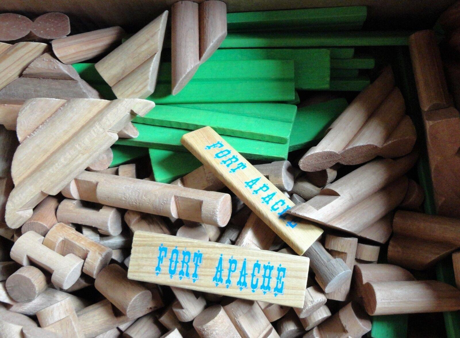 Vintage 10 pounds FORT APACHE Wood LINCOLN LOGS Building Toys Misc Asst Lot
