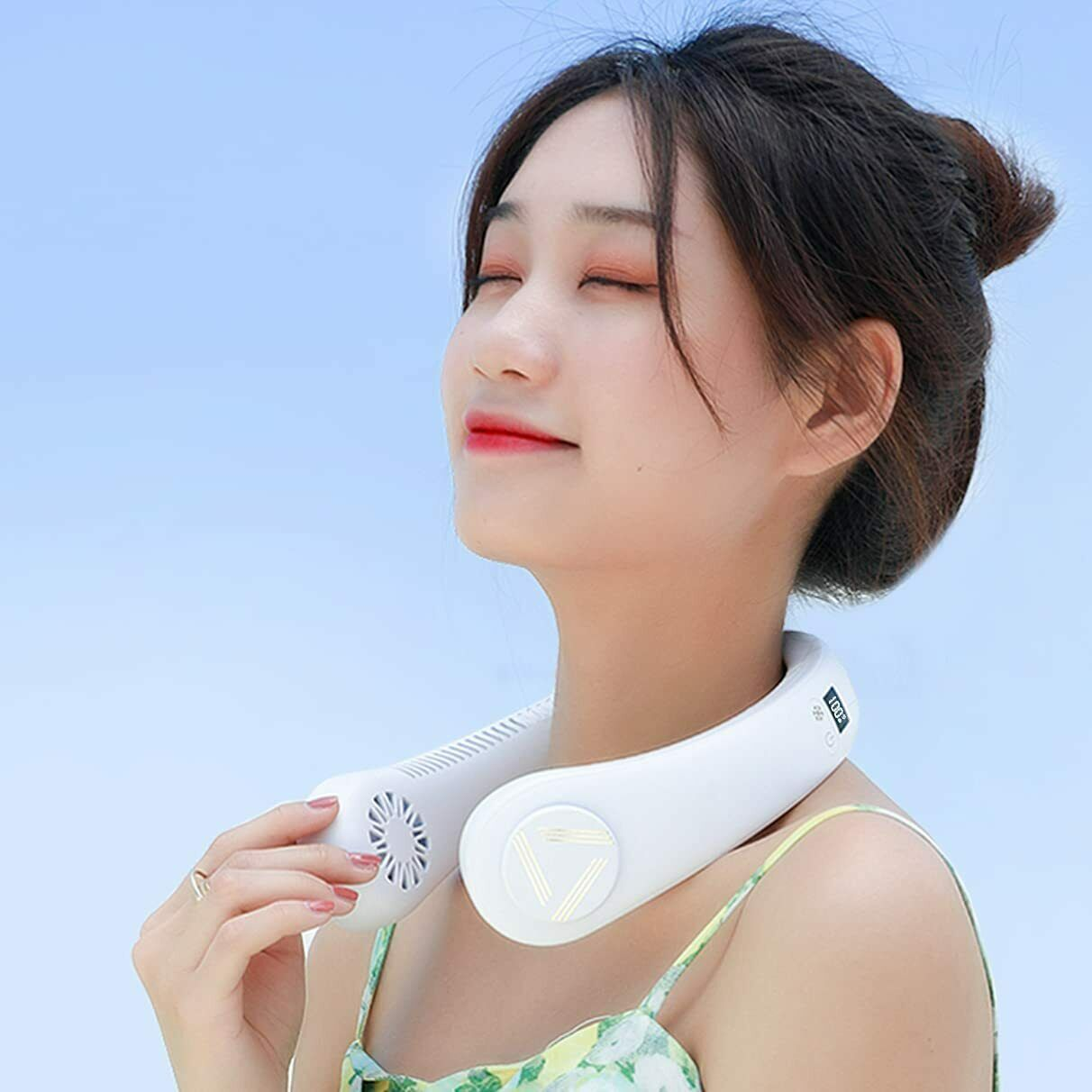 [2021 Neck-mounted fan with cooling plate] PriO Portable cooler Feather none La