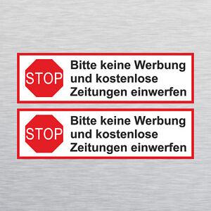 2 X Stop Bitte Keine Werbung Briefkasten Aufkleber