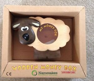 Details About Wooden Sheep Money Box With Secret Lock