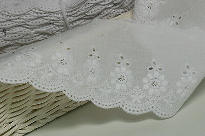 "3Yds Broderie Anglaise cotton eyelet lace trim 2.9""(7.5cm) white YH835 laceking"