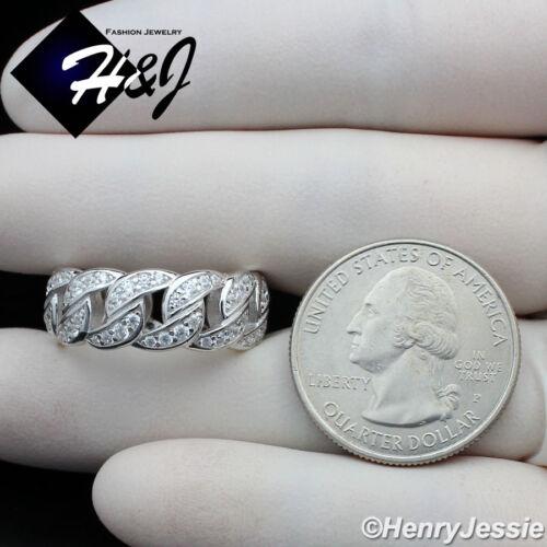 Hombres Mujeres laboratorio de plata esterlina 925 Anillo De Diamante Bling Cubano Curb Enlace SR128