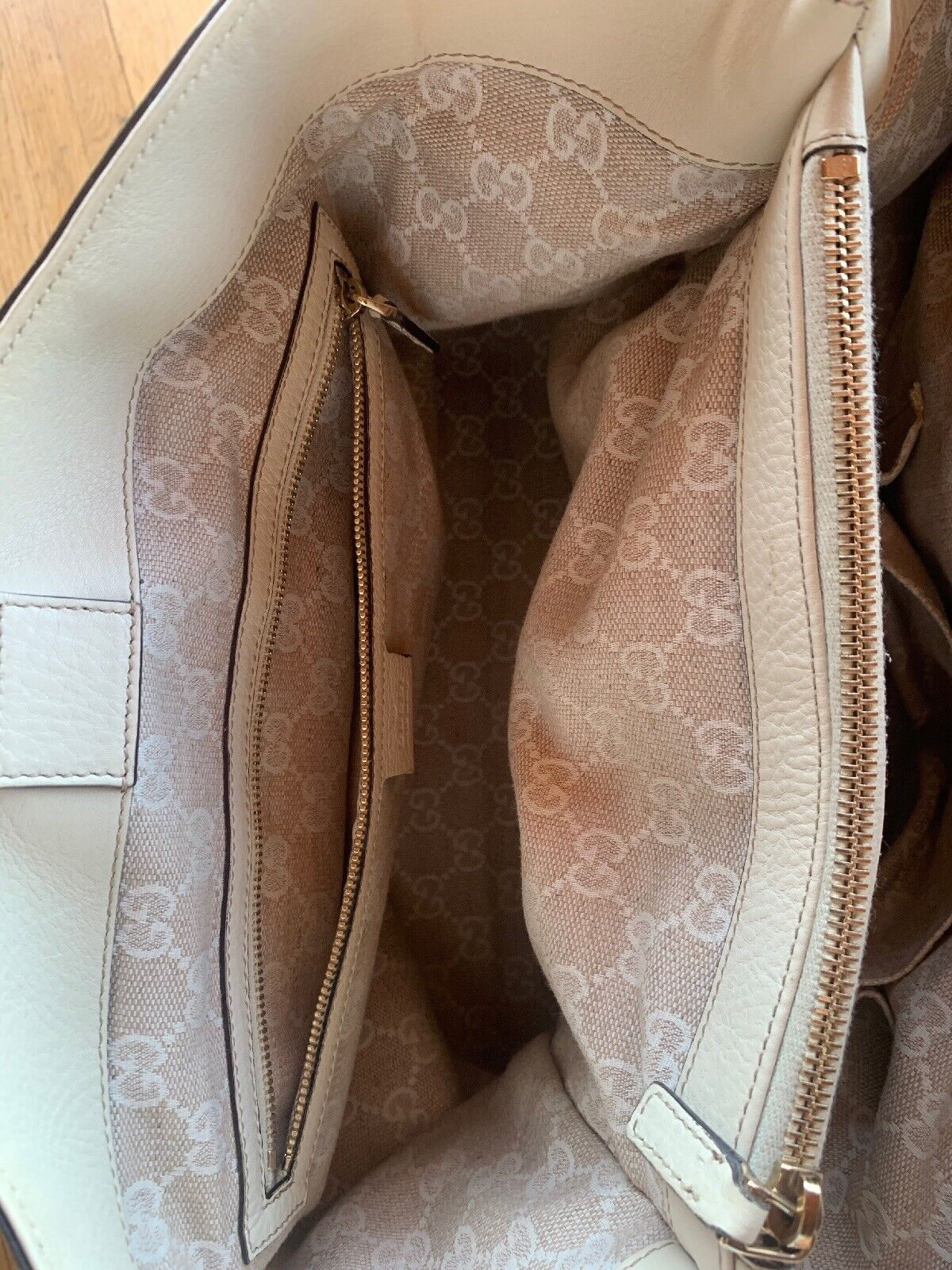 Gucci Cream Pebbled Leather Bamboo Handle Princes… - image 5