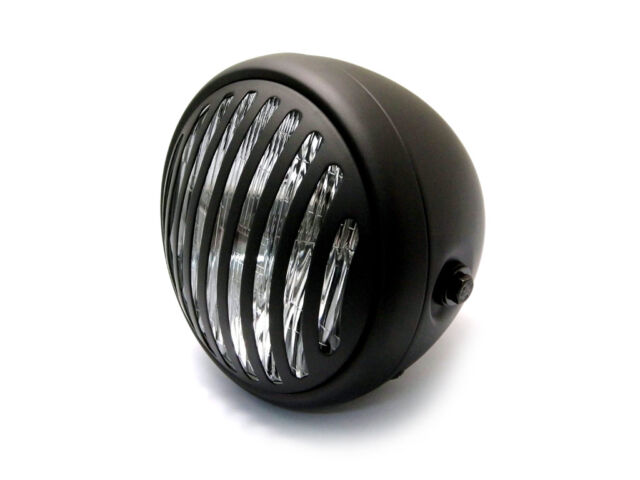 Prison Grill Slotted Headlight Head Lamp Black H4 Motorcycle Bobber Cafe Racer