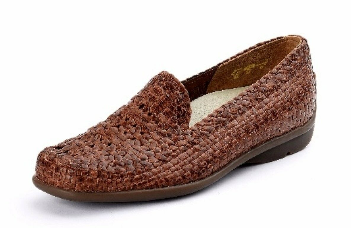 WALDLAUFER 431031 HARRIET WOVEN LEATHER COGNAC LOAFER COMFORT INNER