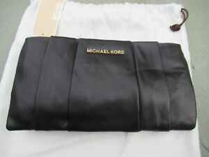 6acd333d6d54 Image is loading NWT-Michael-Kors-Daria-Pleated-Black-Leather-Convertible-