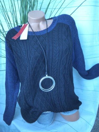 NEU 40-52 Schwarz Blau Sheego schöner Strick Pulli Pullover Gr 134
