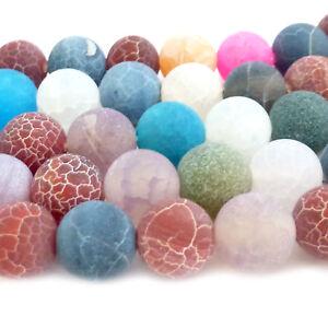 ca. 38 HALBEDELSTEIN Perlen ACHAT bunt Crackle rund ca. 10mm nenad-design E174