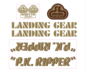 P.K. Ripper Decal set - gold w brown  shadow  2018 latest