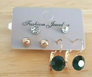 SET-Stud-and-Drop-Statement-Earrings-with-Green-Stone