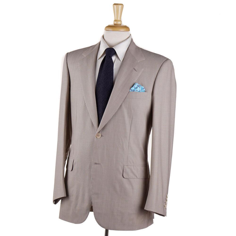 NWT 7500 BRIONI Tan-Beige Stripe Lightweight Super 150s Wool Suit 38 R