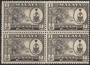 MALAYSIA-MALAYA-PENANG-1960-1c-BLACK-B-4-MNH