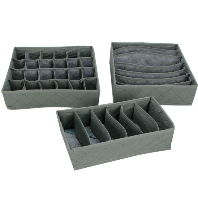 New 3 PCS Underwear Socks Ties Storage Organizer Box Case Set Bamboo Charcoal