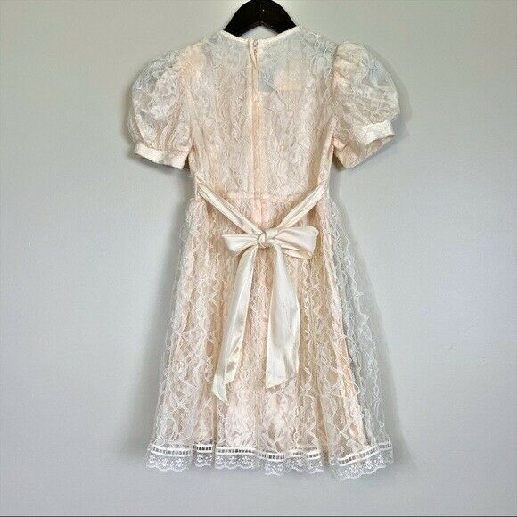 Gunne Sax girls lace dress cream shortsleeved - image 11