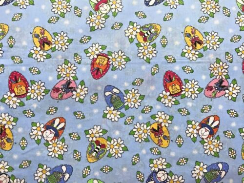 Cotton Quilt Fabric Bunny Hop Whole Country Caboodle Blue BTHY