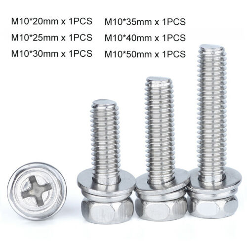 A2 304 Stainless Phillips Drive Hex Head Set Screws Spring//Flat Washer Sems Bolt