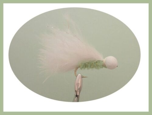 6 Per Pack White Booby Head Cats Whisker Trout Flies Fishing flies