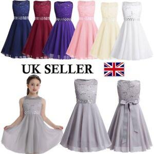 UK Kids Flower Girls Bridesmaid Dress Princess Formal Wedding Party Gown Dresses