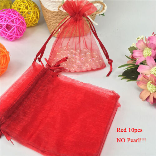 10PCS DIY Jewelry Organza Bag Mesh Bags Yarn Bag Gift Pouch Bags Lace Up Bags