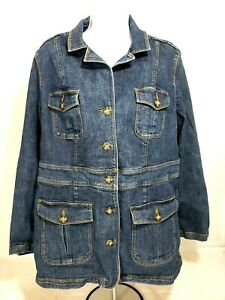L-L-BEAN-Women-s-Denim-Jean-Jacket-Sz-L-Reg-4-Button-Front-Flap-Cargo-Pockets