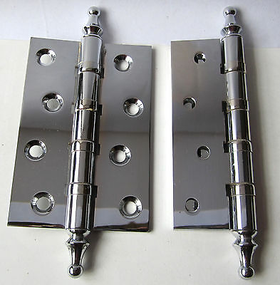 4 Pairs Ball Bearing Door Hinges Solid Brass Chrome Plated 4 X 2-5/8 4bb