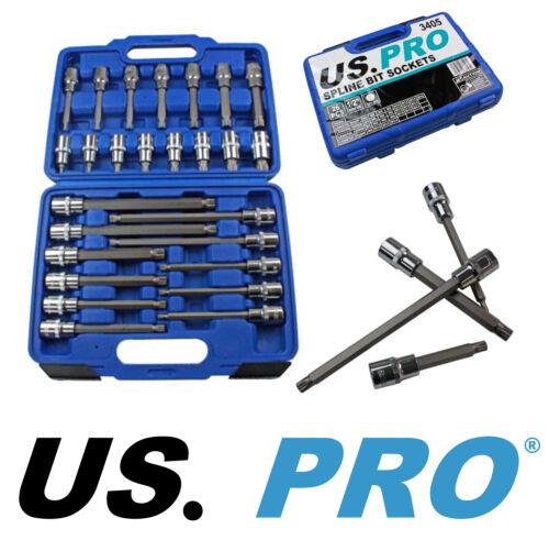 "US PRO Tools 3405 26pc 1//2/"" Dr Spline Bit Socket Set With Case 55 100 140 200mm"